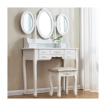 new styles 24721 219e3 Cherry Tree Furniture Large White 7-Drawer Vanity Makeup Dressing Table Set  with 3 Mirrors and Jacquard Cushioned Stool