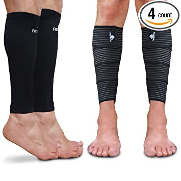 8e0b76ce24 Calf Sleeve Package (Pack of 4) - Calf Compression Sleeve (1 Pair) And Calf  Wraps (1 Pair) - Calf Guard For Men And Women - True Leg Graduated  Compression ...