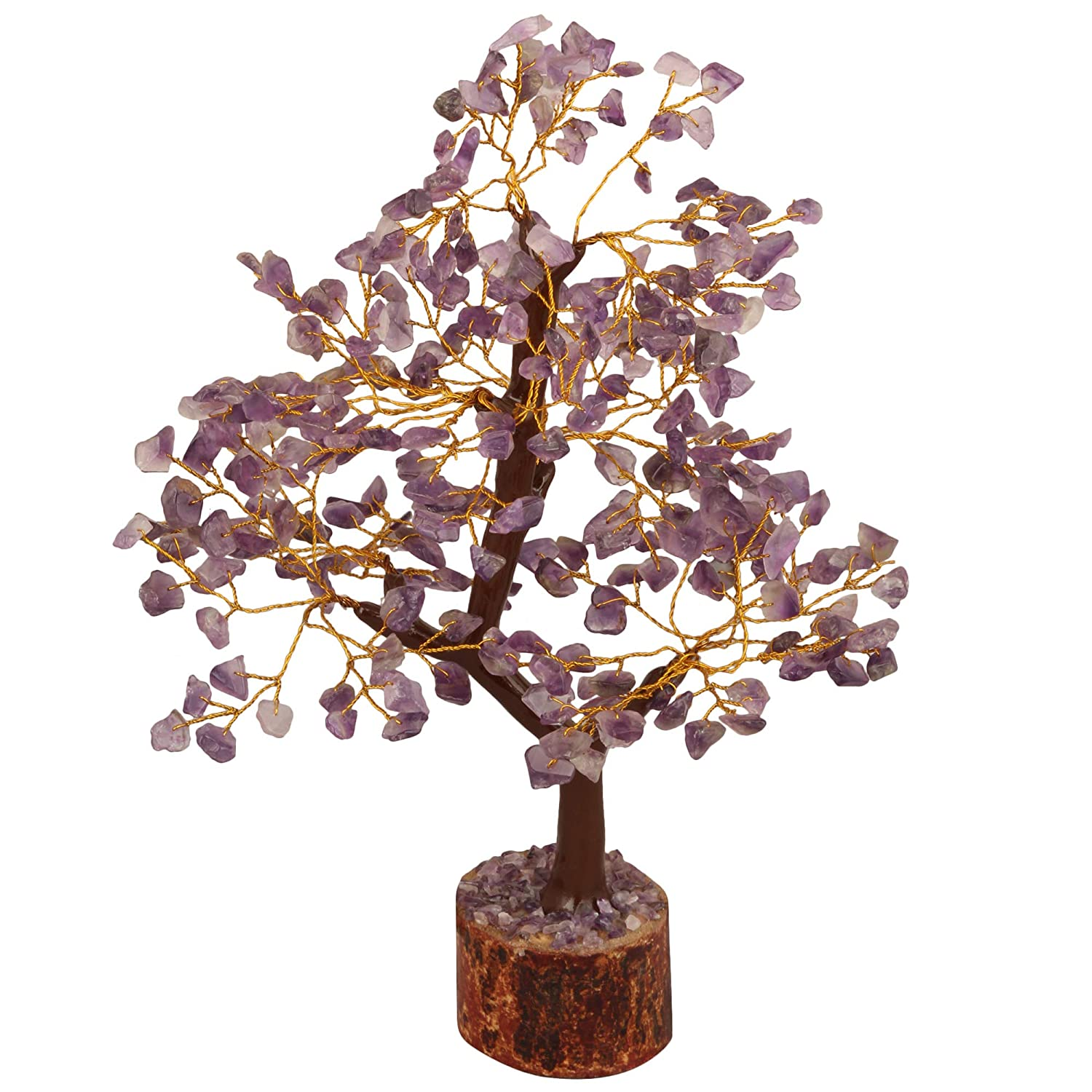 FASHIONZAADI Amethyst Bonsai Money Tree Feng Shui Crystal Gemstone Trees Chakra Stone Healing Crystals Good Luck Home Office Table Décor Health Prosperity Size 10-12 inch (Golden Wire)