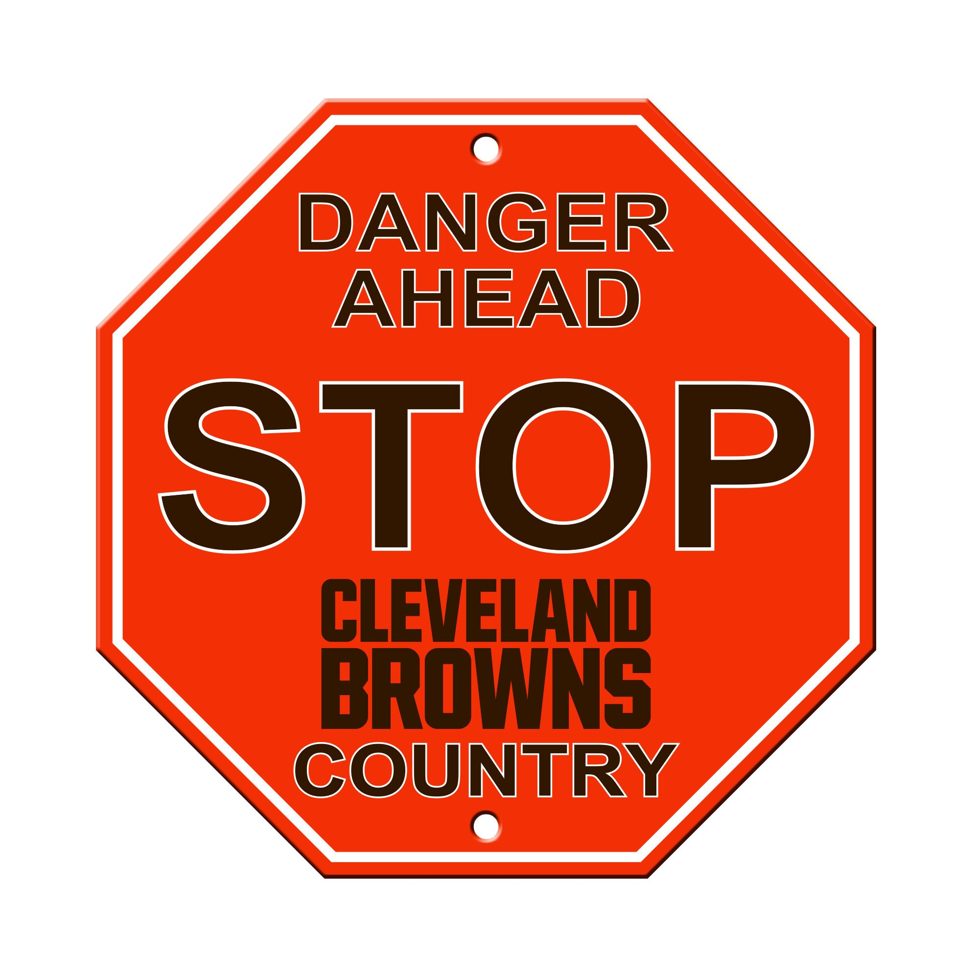 """NFL Cleveland Browns Stop Sign, 12"""" x 12"""