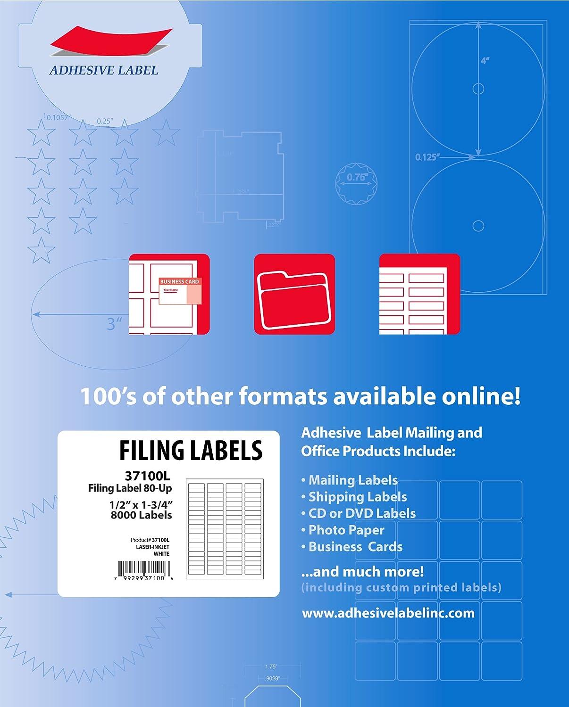 Ace Label Mailing Labels for Laser and Inkjet Printer, 1.75x.05-Inch, Pressure-Sensitive Labels, 100 Sheets, 80 per Sheet, White (37100L)