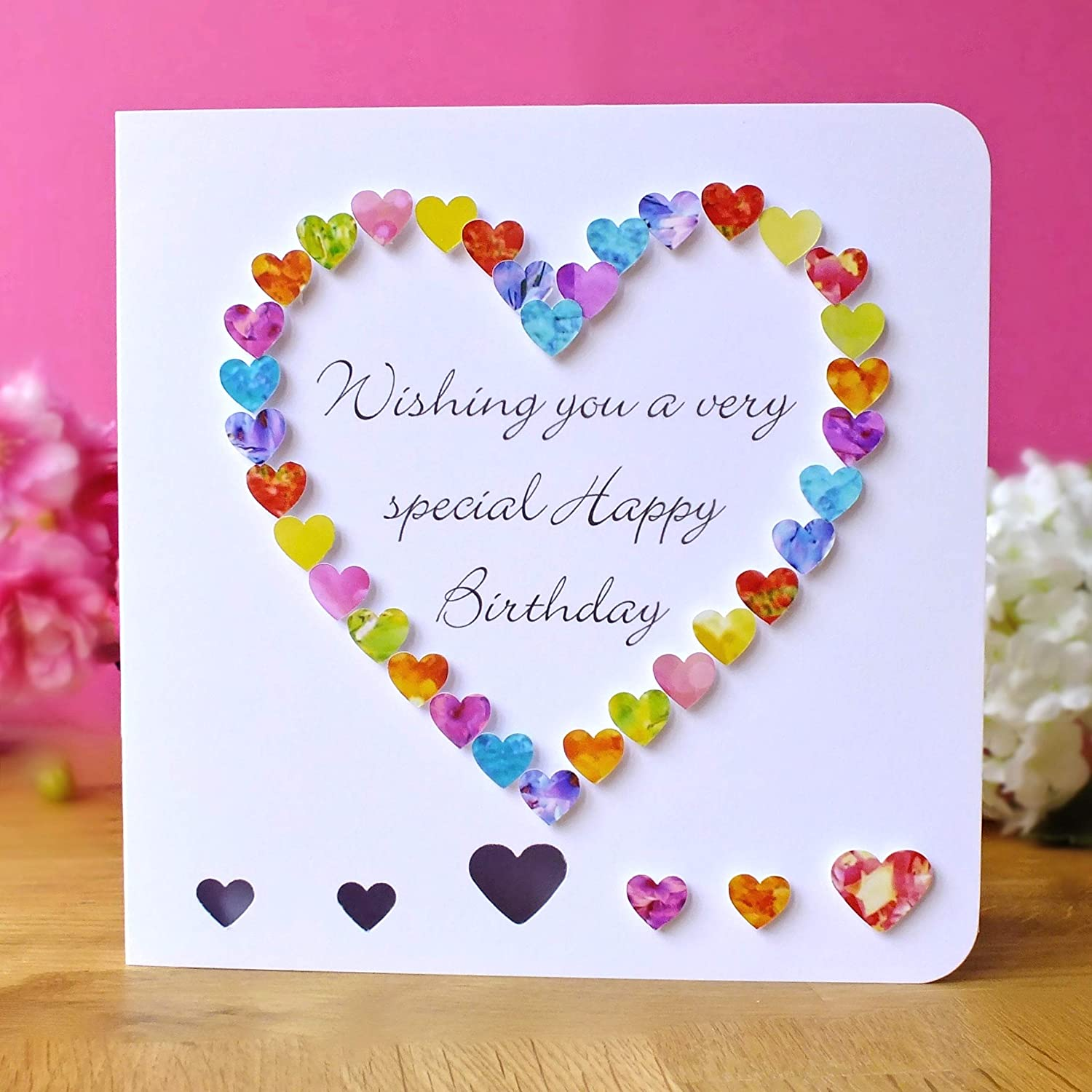Handmade 3d Birthday Card Multi Coloured Heart Special Friend Mum Daughter Grandma Niece