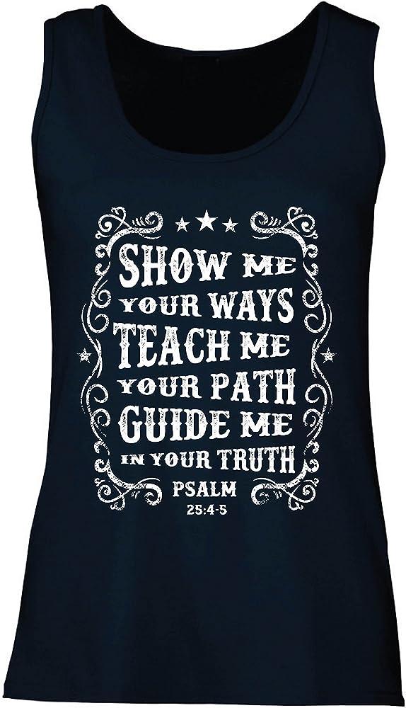 b7a442158 Camisetas sin Mangas para Mujer Salmo 25: 4-5, Religión Cristiana, Fe