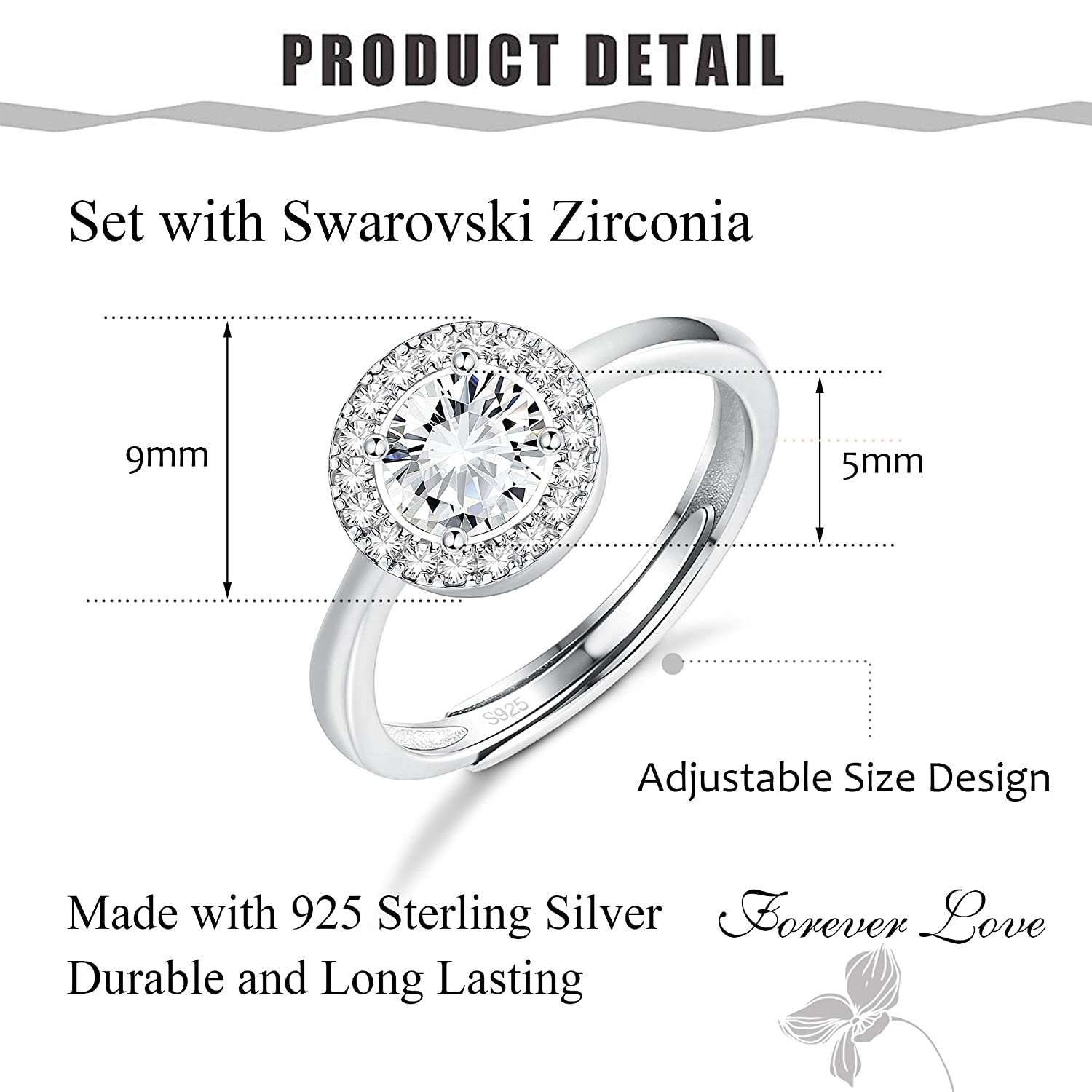5d16db141 Amazon.com: Sllaiss Set Swarovski Crystal Halo Rings 925 Sterling Silver  Round Promise Wedding Engagement Band Ring Adjustable for Women: Jewelry