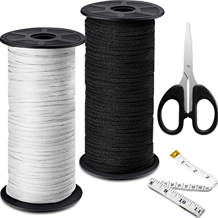 Mask AIEX 3 Rolls Elastic Band For Sewing 0.6 Inch//1 Inch//1.5 Inch Width 6 Yards Length Sewing Stretch Band Waistband Elastic Band Black for Diy Craft Gloves
