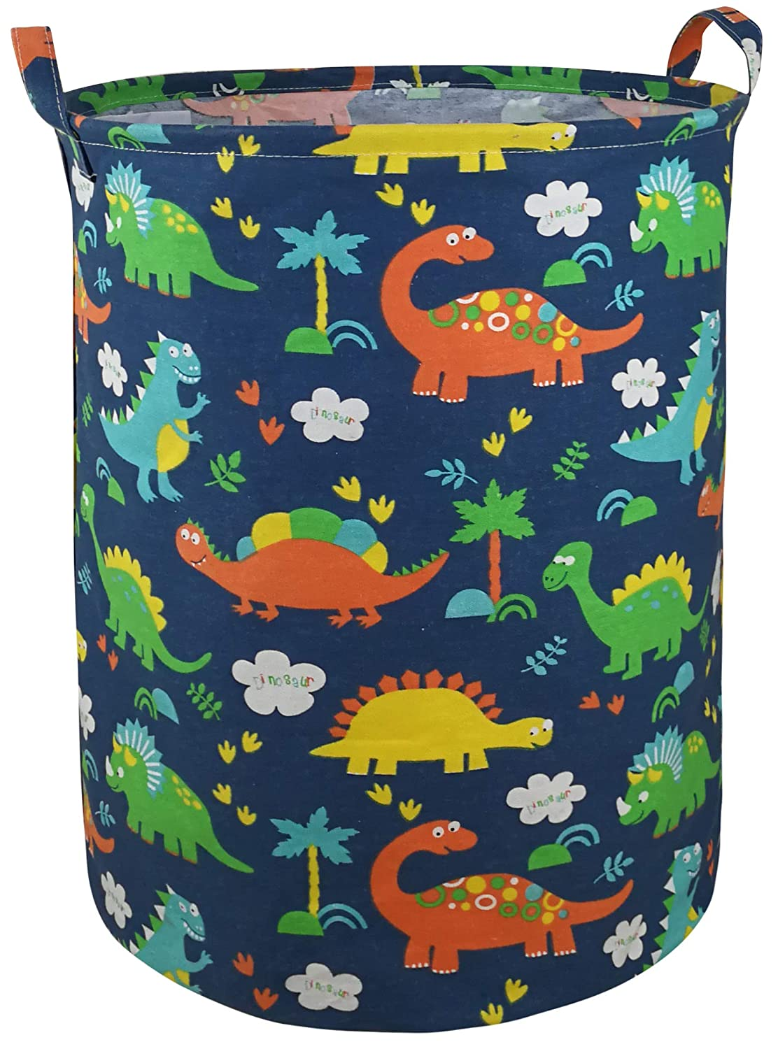 """AYTG 19.7"""" Round Canvas Large Clothes Basket Laundry Hamper with Handles,Waterproof Cotton Storage Organizer Perfect for Kids Boys Girls Toys Room, Bedroom, Nursery,Home,Gift Basket(Dinosaur)"""