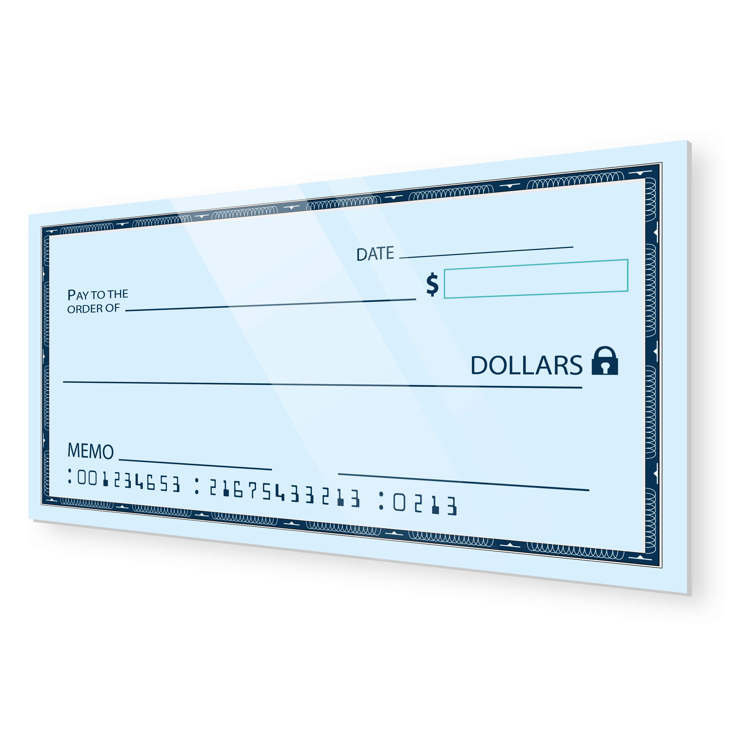 [Dry Erase] 24'' x 48'' Oversize Giant Check - Large Fake Checks - Reusable Big Blank Presentation Check for Charity Donation, Lottery, Raffle, Novelty, Fundraiser, Endowment and Gag Gift [Pack of 1] by JJ CARE
