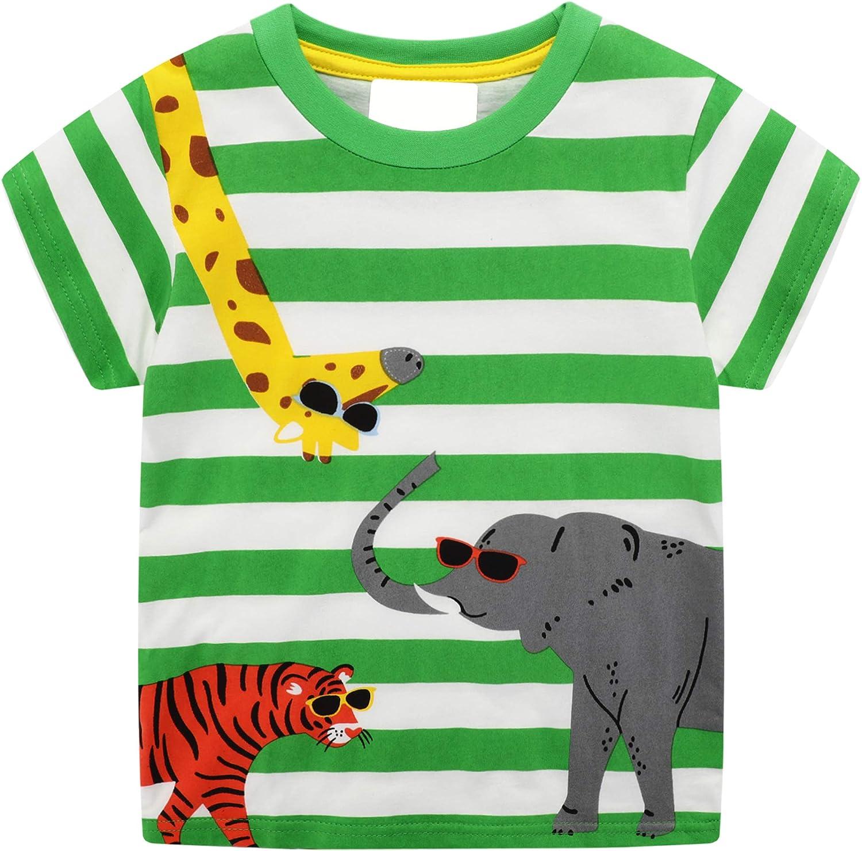 Camisetas y Pantalones Cortos para Niños De 1 a 8 Años con Estampados De Animales a Rayas