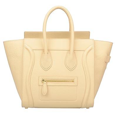 7371b8869a Ainifeel Women s Genuine Leather Smile Top Handle Handbag Purse (Medium
