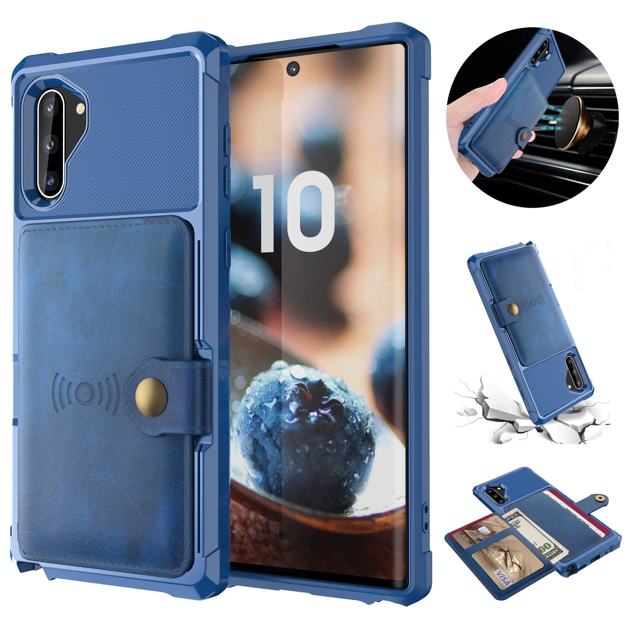 Tznzxm Galaxy Note 10 Wireless Charging Wallet Case with Credit Card Kickstand Rubber Buttons [Work with Magnetic Car Mount] Durable Flip Shockproof Protective Cover for Samsung Galaxy Note 10 Blue by Tznzxm