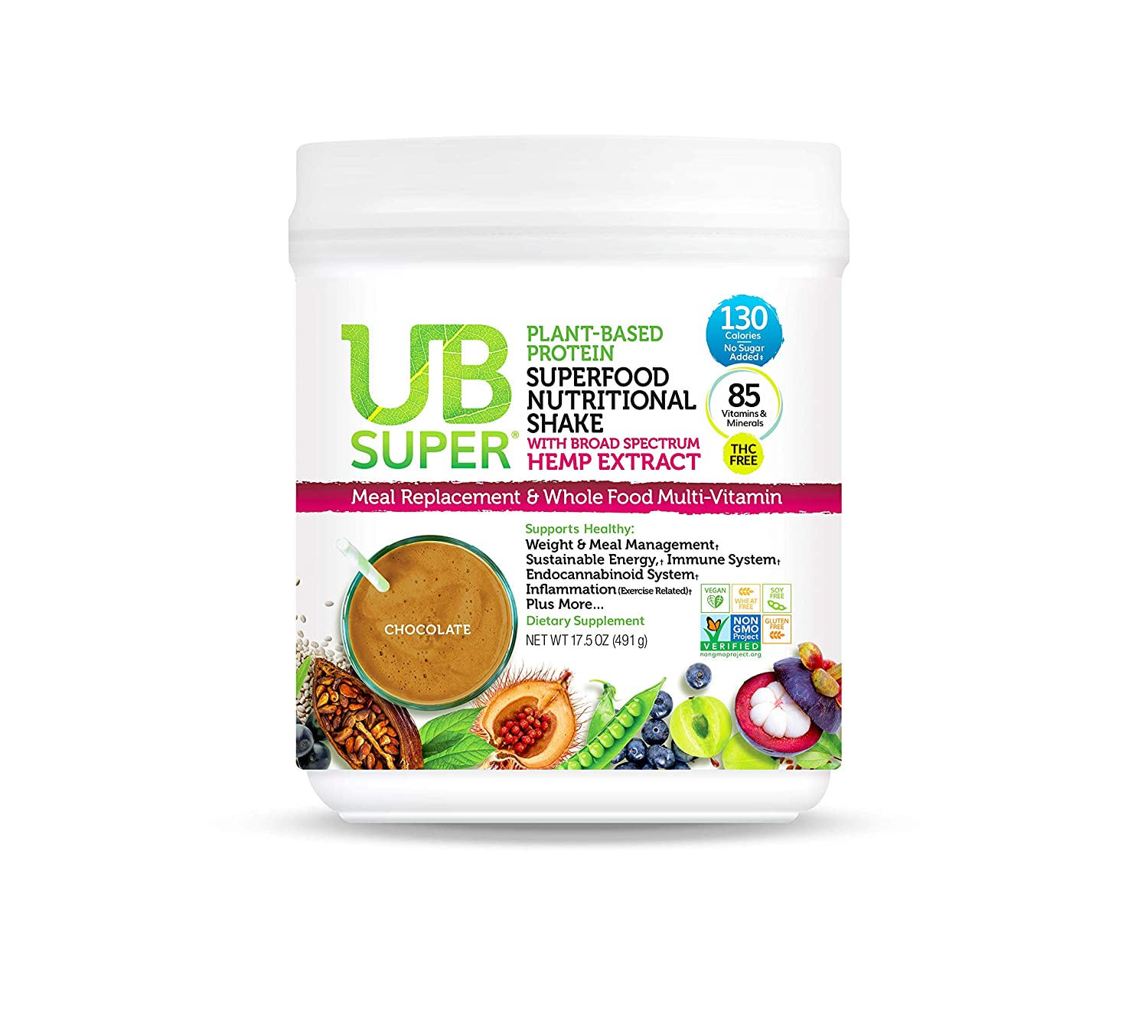 Our Latest Meal Replacement – UB Super – Broad Spectrum Hemp Extract – Protein Superfood Nutritional Shake – Vegan, Gluten Free, Non GMO, No Added Sugar, Nutrient Rich – Dietary Supplement Chocolate