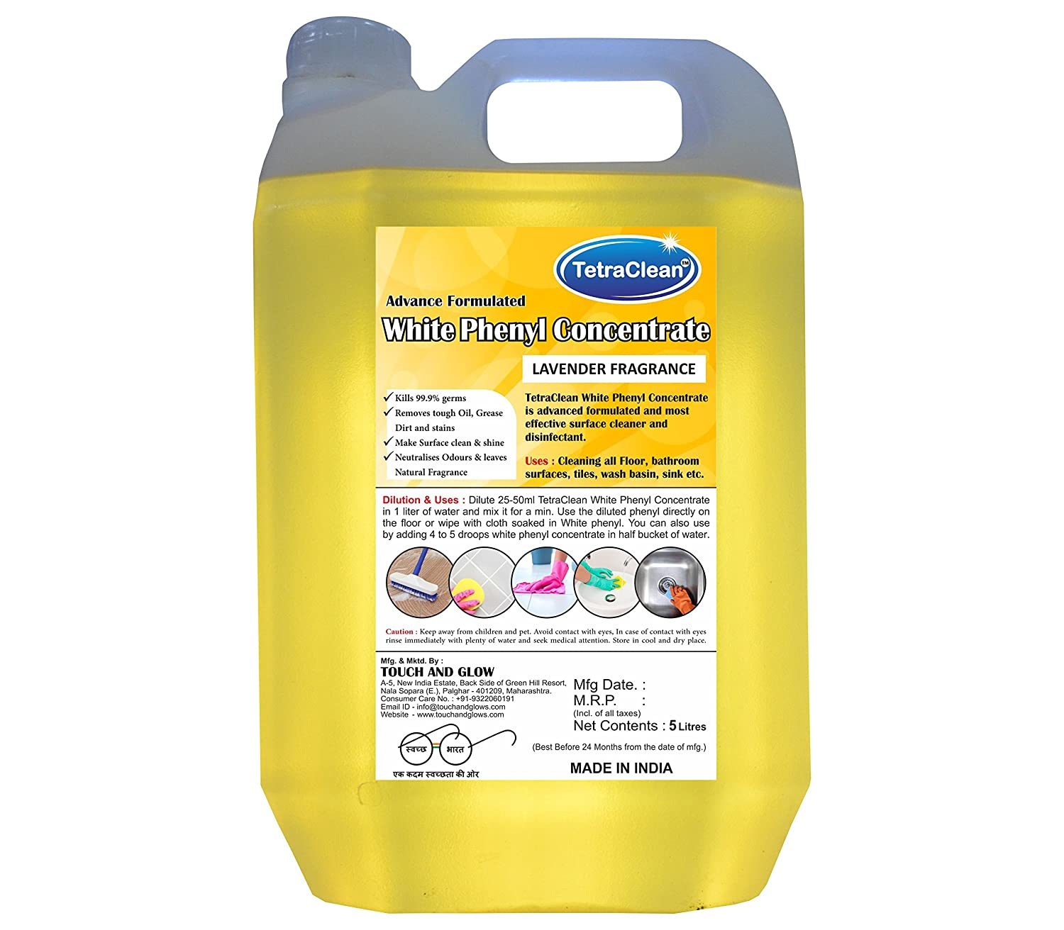 TetraClean Concentrate Premium Bathroom Floor Cleaner -Advanced  Disinfectant and Washroom Floor Stain Remover with Air Freshening Formula -  5-liters -
