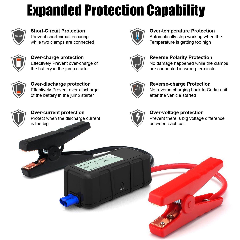 ANCEL e-power100 500 A pico 12000 mAh 12 V coche arrancador Certified Safe veh/ículo amplificador con la exclusiva inteligente cable de puente