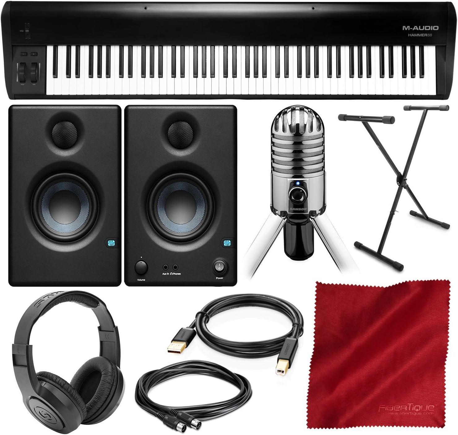 M-Audio Hammer 88 - Controlador de teclado USB/MIDI de 88 teclas con monitores de estudio Presonus Eris E3.5, micrófono USB Samson y paquete de lujo: Amazon.es: Instrumentos musicales