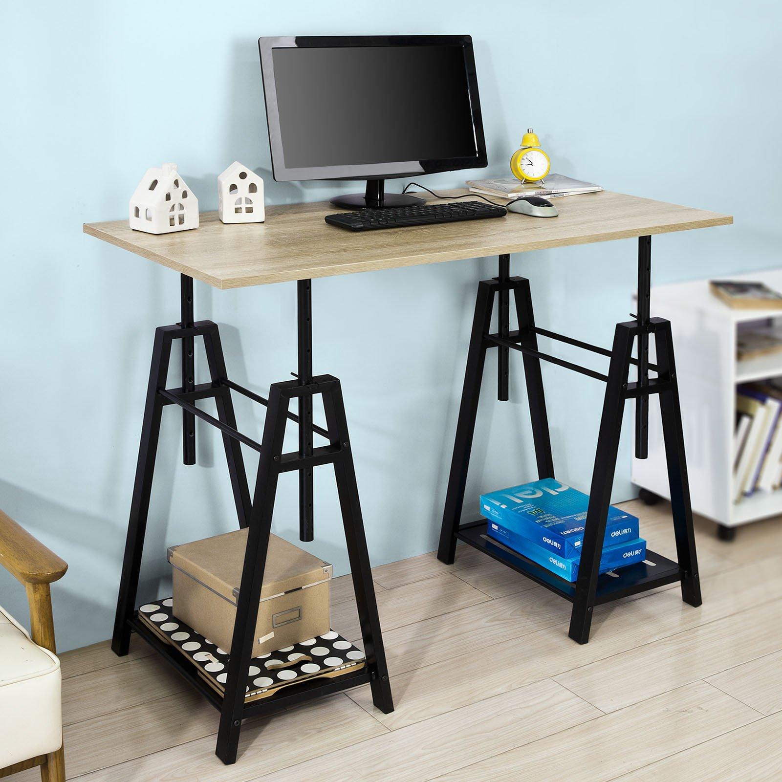 Haotian,Trestle Table Desk Height Adjustable, Home Office Table Desk Computer Workstation,FWT32-N