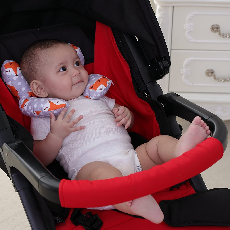 KAKIBLIN Infant Travel Pillow for Car Seat Baby Neck Support Pillow Pushchair Gray Fox