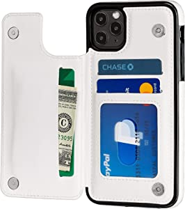 S-Tech Case for iPhone 12 Mini (5.4 inch) Wallet Card Holder Leather Kickstand Card Slots Case, Double Magnetic Clasp and Durable Shockproof Cover for Apple (White)