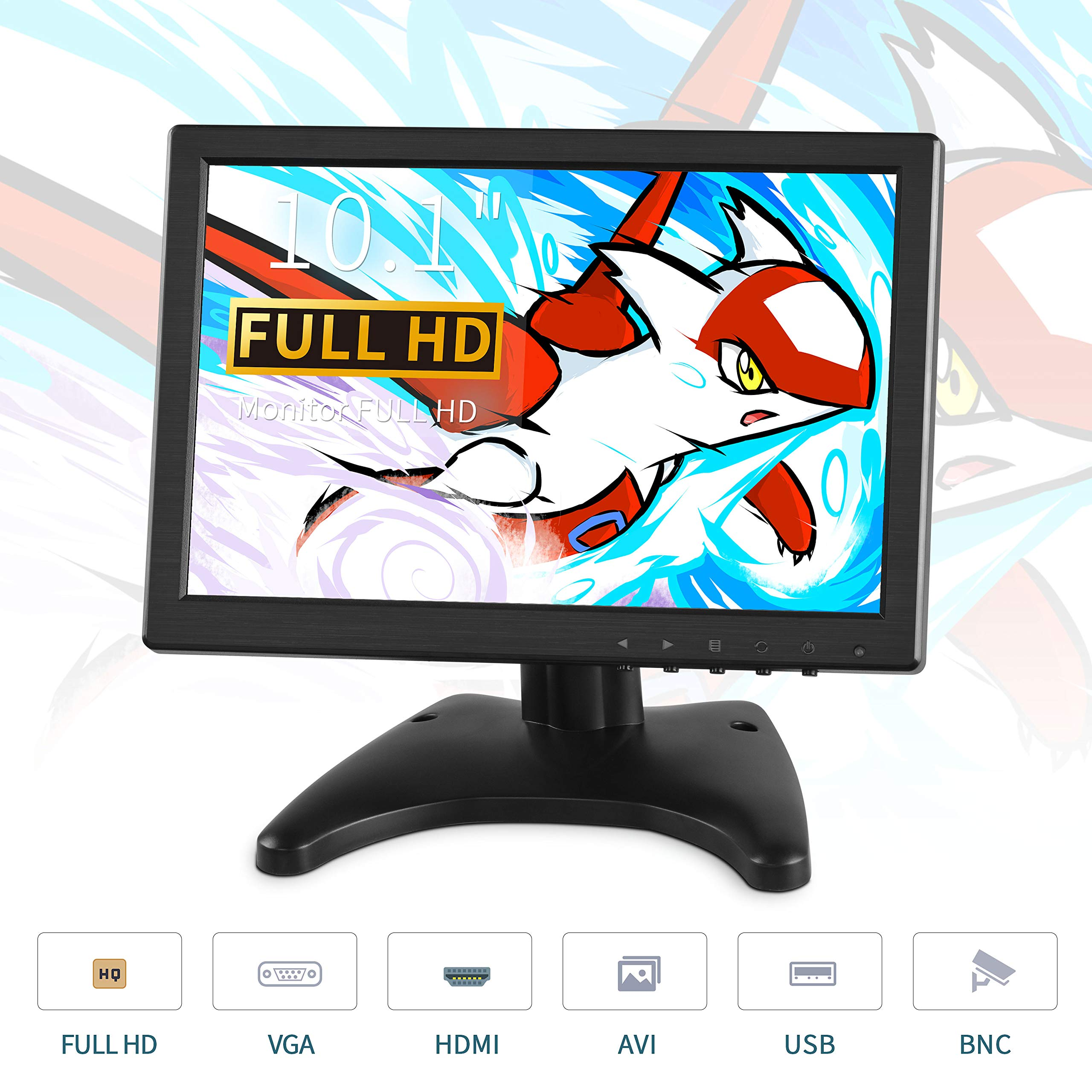 TOGUARD IPS Portable Monitor for Laptop 10.1 Inch Computer Display Screen 1920x1200 HD with AV/VGA/HDMI/BNC/USB Output for PC CCTV Camera Security Gaming Monitor at 178° Wide Viewing Angle by TOGUARD