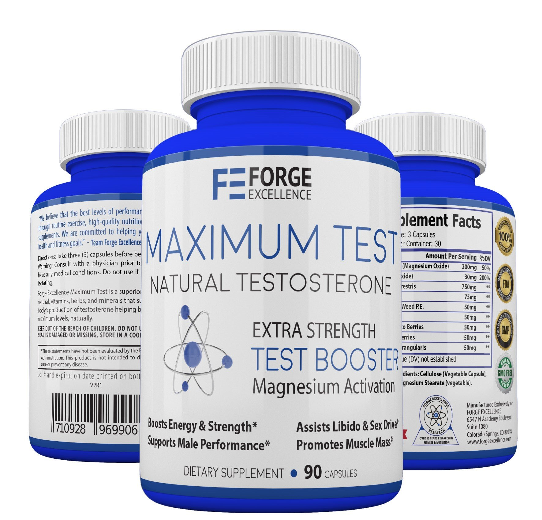 Forge Excellence - Maximum Test Best Natural Testosterone Supplement – Healthy & Powerful Men's Testosterone Booster, Advanced Formula Promotes Muscle Growth, Boosts Libido & Boosts Energy Levels