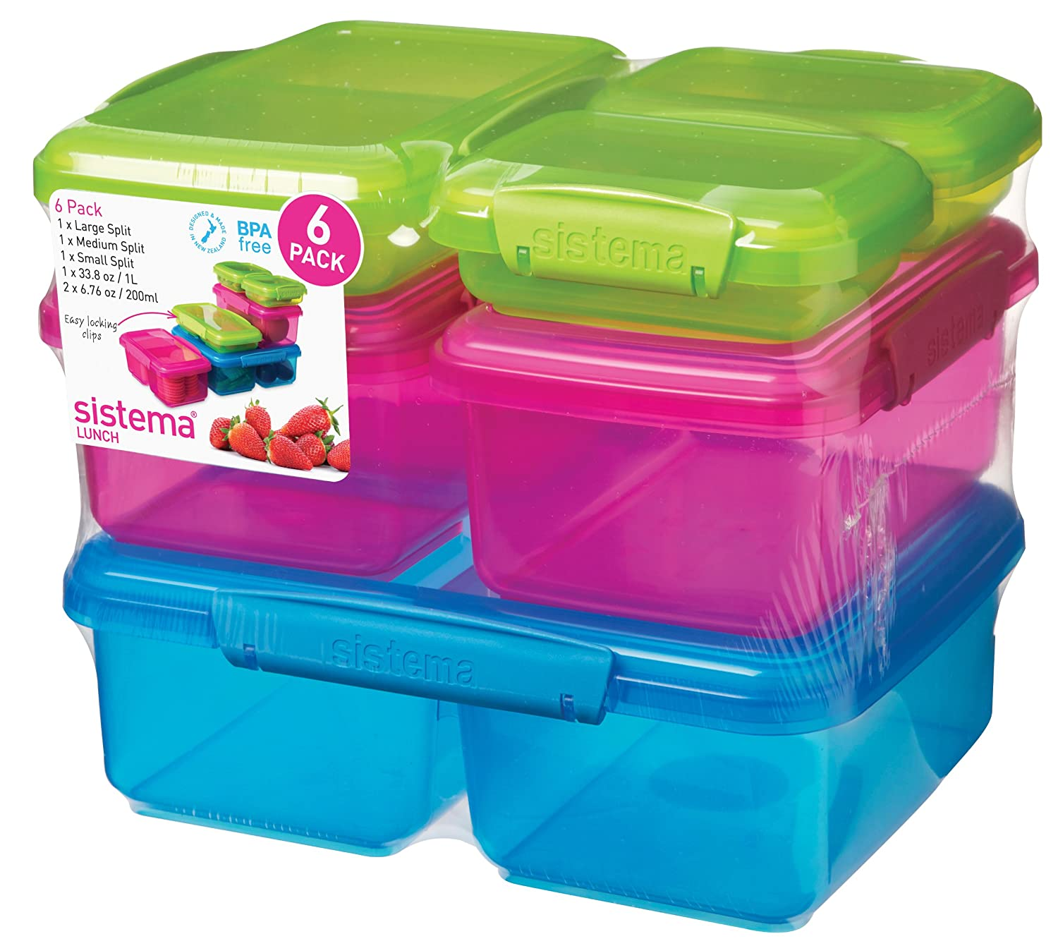 Amazon.com: Sistema Lunch Collection Multi Piece Food Storage Containers,  Assorted Colors, Set Of 6: Food Savers: Kitchen U0026 Dining