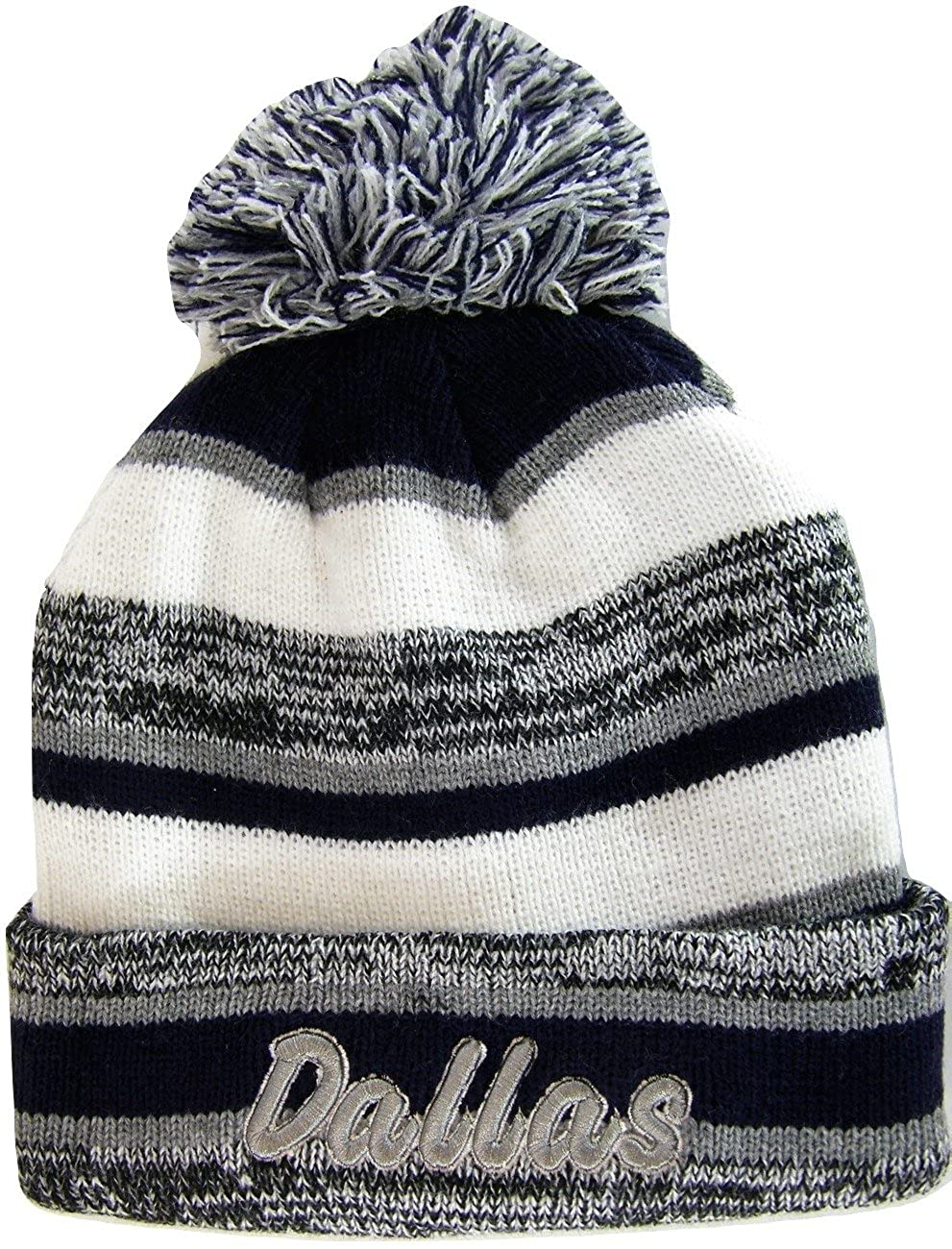 eebb34b3e3b Dallas Adult Size Tri-Color Winter Knit Pom Beanie Hats (Gray Navy Script)  at Amazon Men s Clothing store