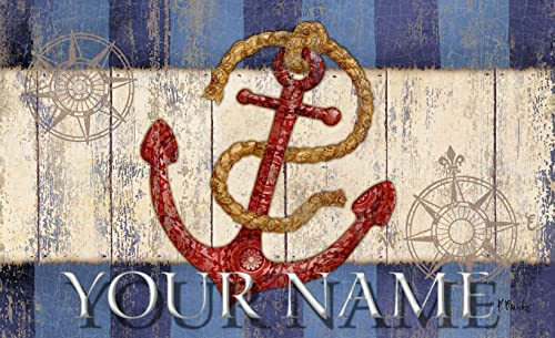 Toland Coastal Nautical Anchor Maritime Your Name Personalized Custom Standard Mat 18 x 30