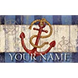 "Toland Coastal Nautical Anchor Maritime Your Name Personalized Custom Standard Mat 18"" x 30"""