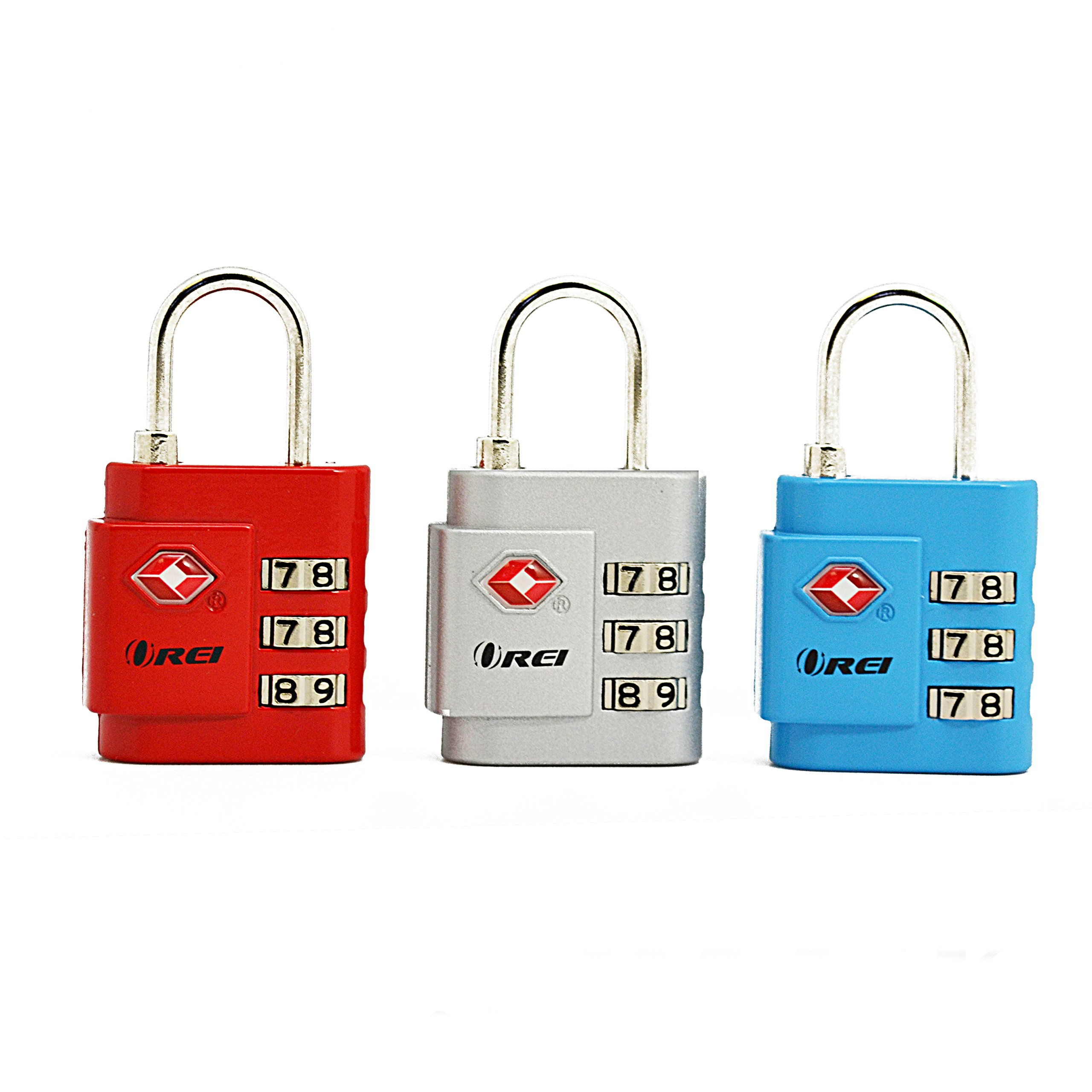 OREI TSA Approved Luggage Locks Set - Combination Travel Lock Quality (3 Pack)
