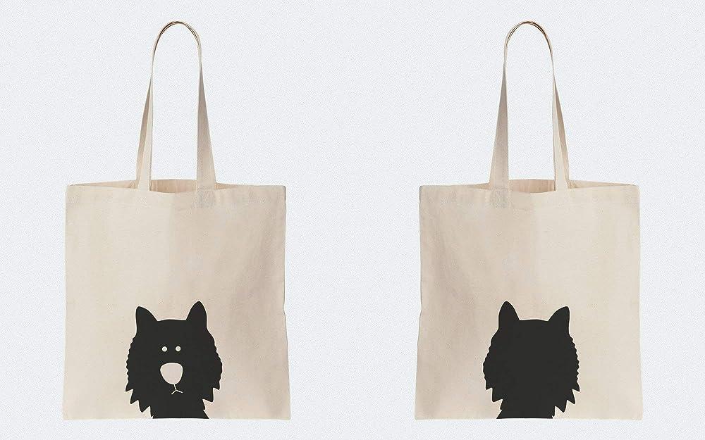 reusable natural 100/% cotton Black Cat Carrying Bag eco-friendly printBlack cat Beige