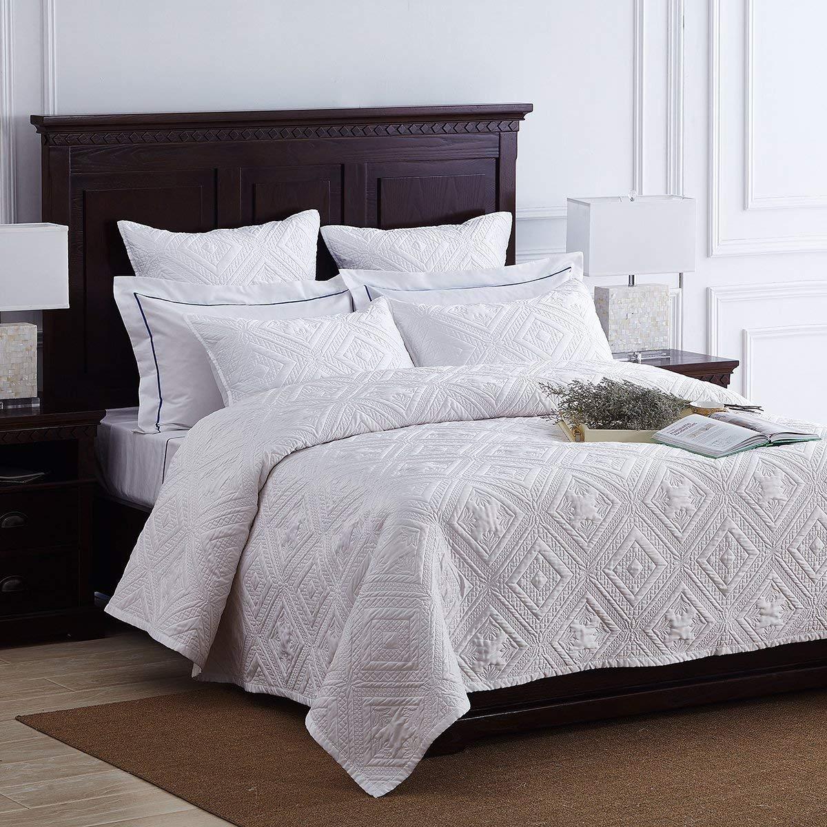 ウォッシュドキルト寝具、ヨーロピアンスタイルの厚み付けハンドメイドプリントエアコンブランケットキルトベッドカバー3個セット、ホワイト,274*241CM B07L91G9GH  274*241CM