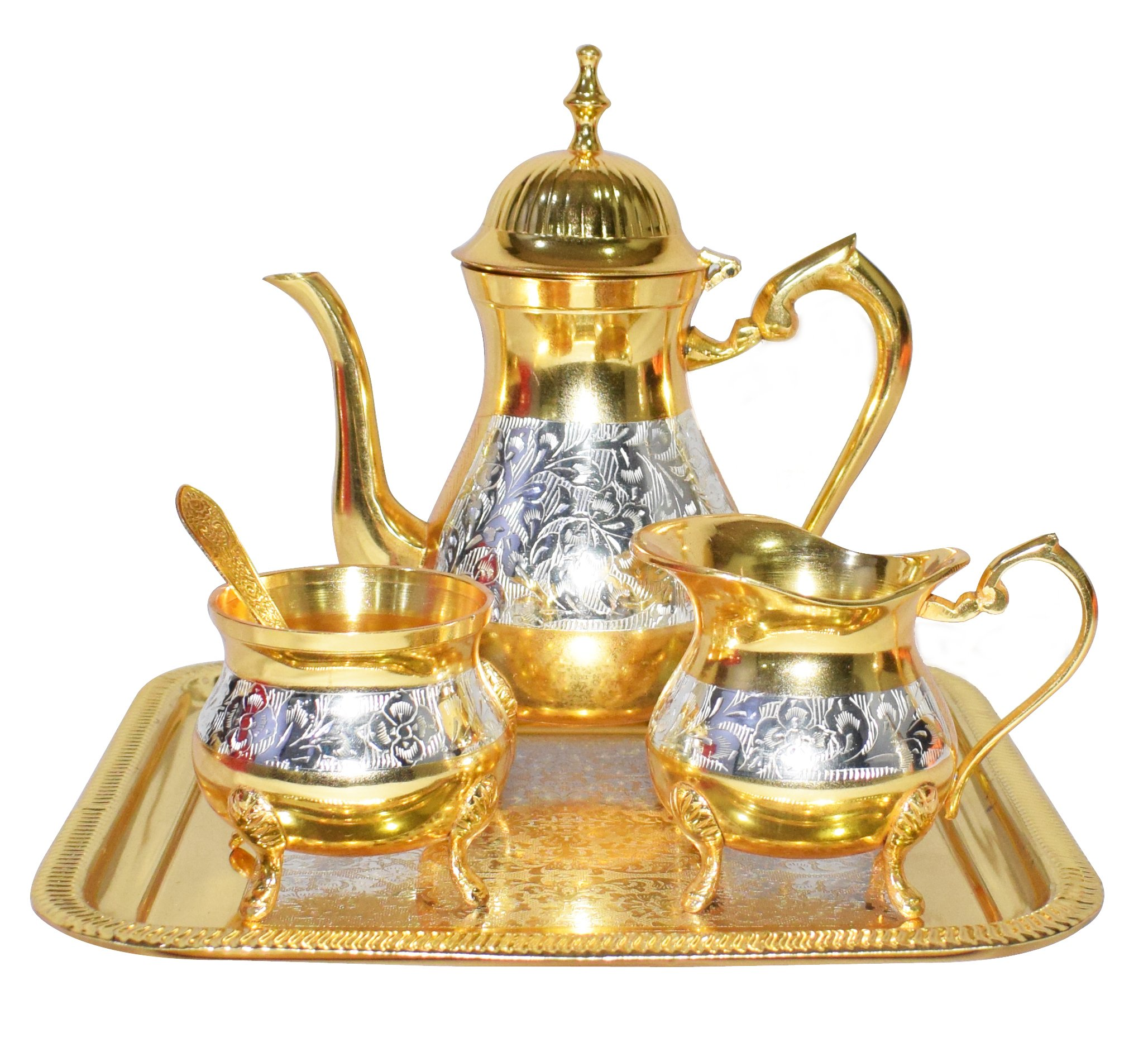 Chritmas Gift/Chritmas Sale Set Premium Antique Mughal Style Brass Gold and Silver Tea Coffee Set.Modern and Traditional Home Decor Themes 