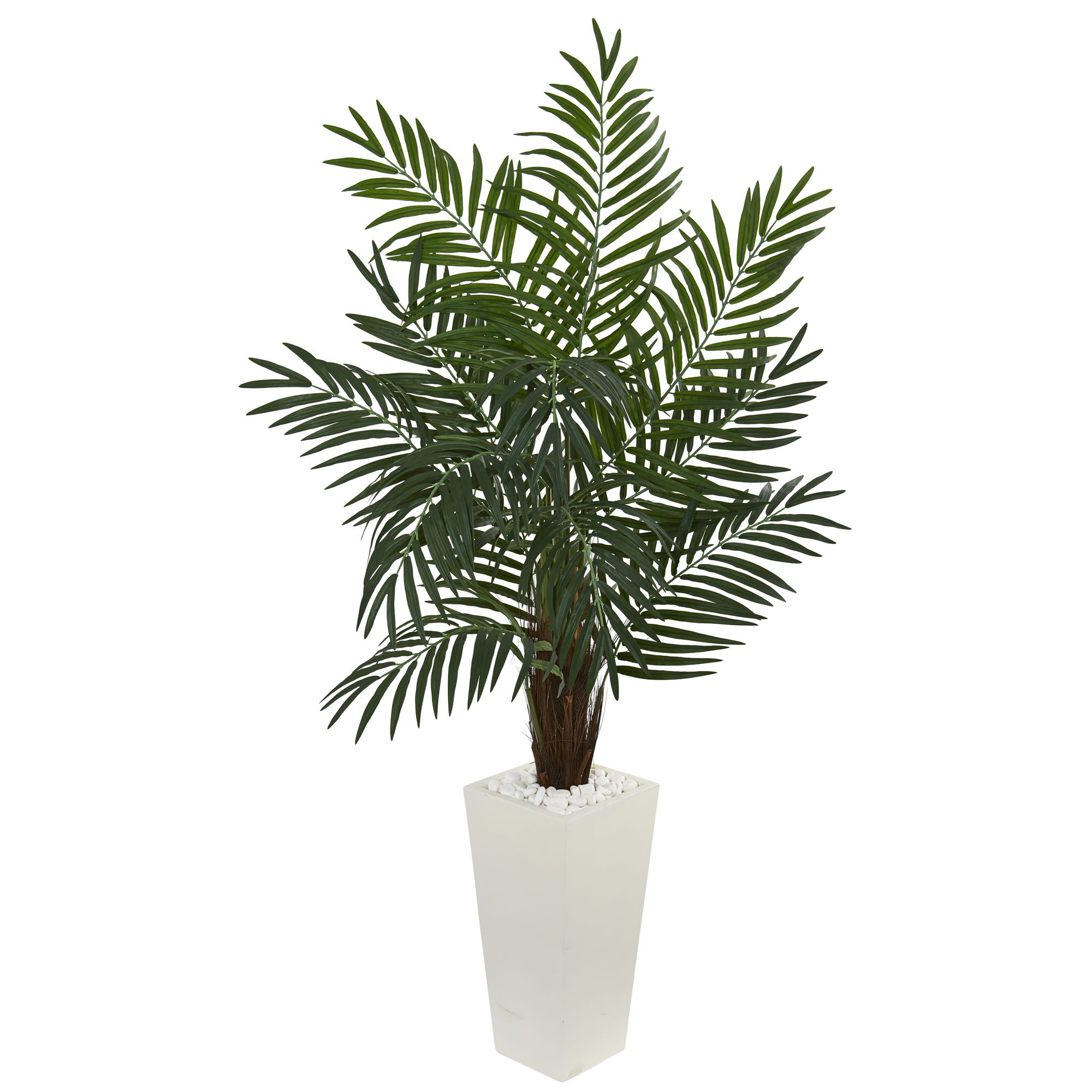 Nearly Natural 5.5' Areca Artificial Palm Tree in White Tower Planter, Green