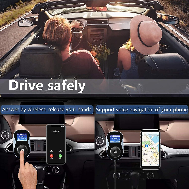Nero Vivavoce Car Kit Adattatore Audio Lettore USB Caricabatteria da Auto con QC3.0 Wireless Trasmettitore Radio per Auto Display LED SONRU Trasmettitore FM Bluetooth