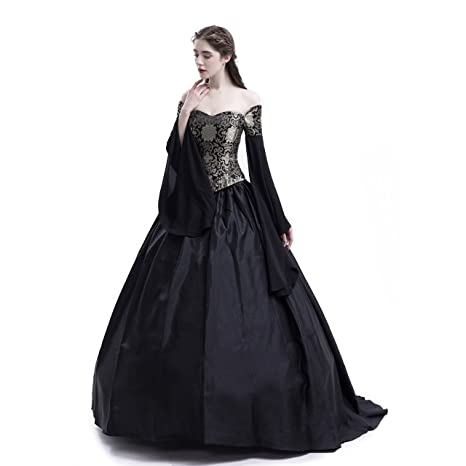 528ab01731e5 D-RoseBlooming Black Vintage Renaissance Wedding Dress Gothic Victorian  Ball Gowns at Amazon Women's Clothing store: