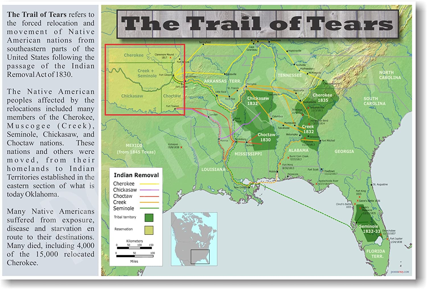 Amazon.com: The Native American Trail of Tears - Social Studies Classroom  Poster: Prints: Posters & Prints