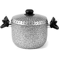 Home Salt N'Pepper Cuit-pâtes Antiadhérent, Aluminium, 4 Litres, Noir/Gris, 20 cm