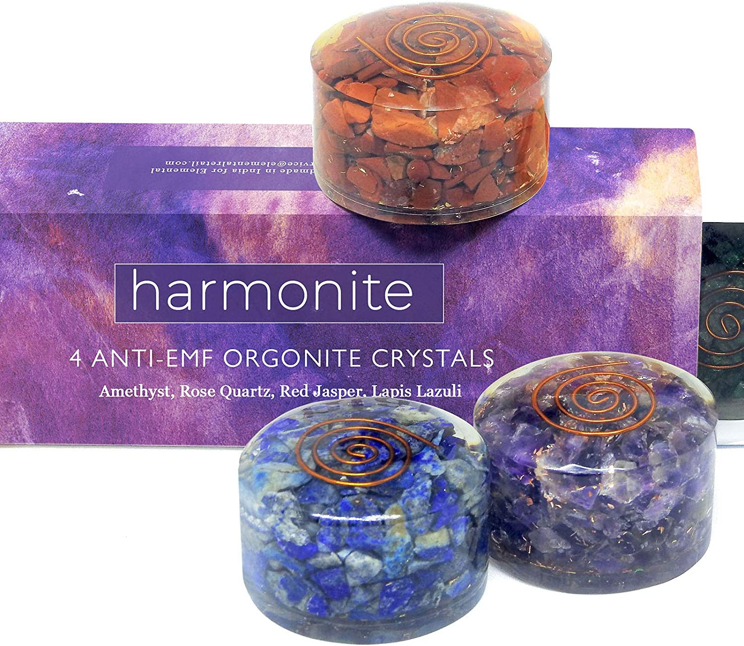 4 Handmade Crystals and Healing Stones, 5G emf Protection and Stress Relief Gift Set. Orgonite Amethyst, Red Jasper, Rose Quartz, Lapis Lazuli Meditation, Relaxation and Restful Sleep Healing Crystals