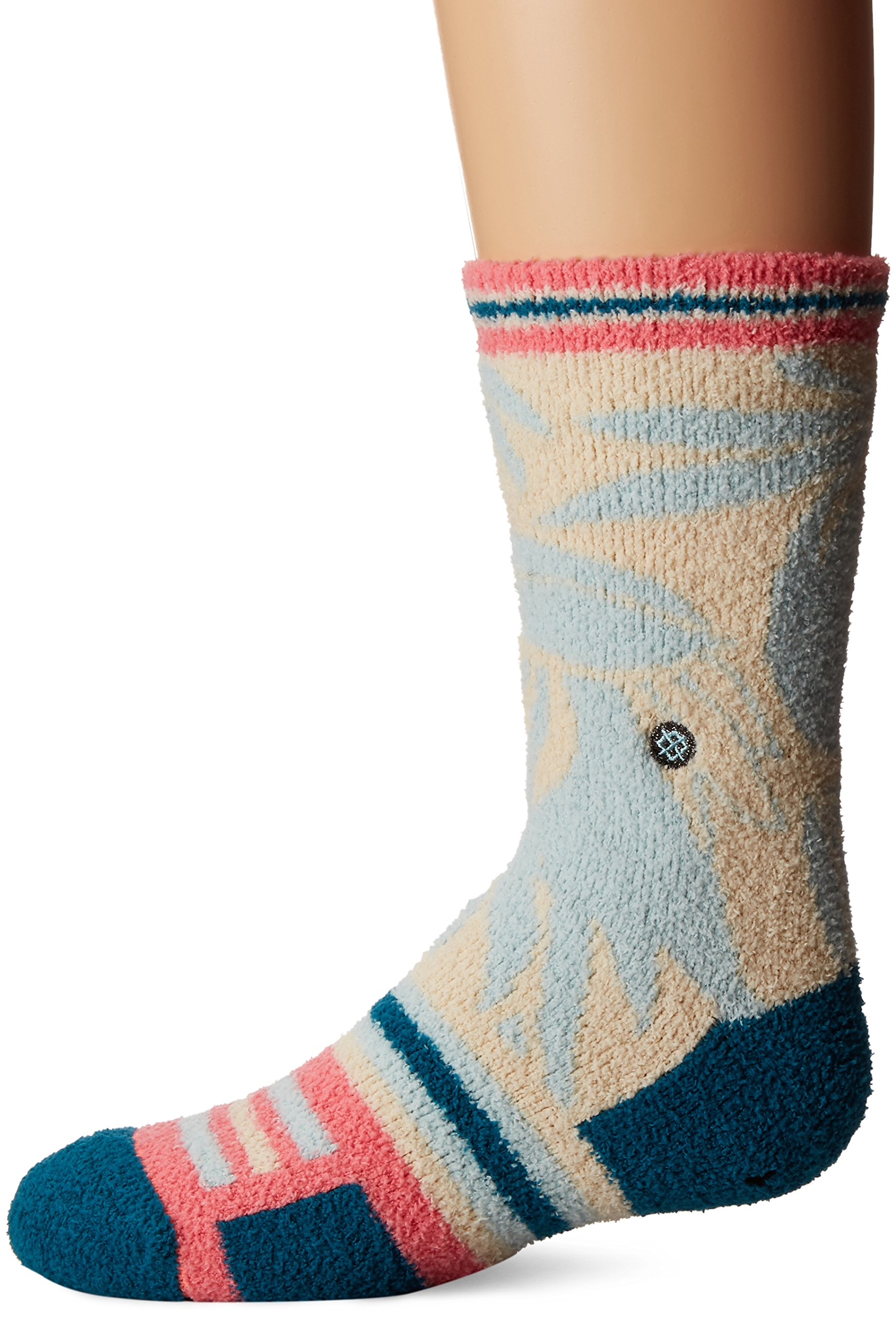 Stance Little Girls' Makame Floral Stripe Reinforced Toe Arch Support Crew Sock, Blue, L