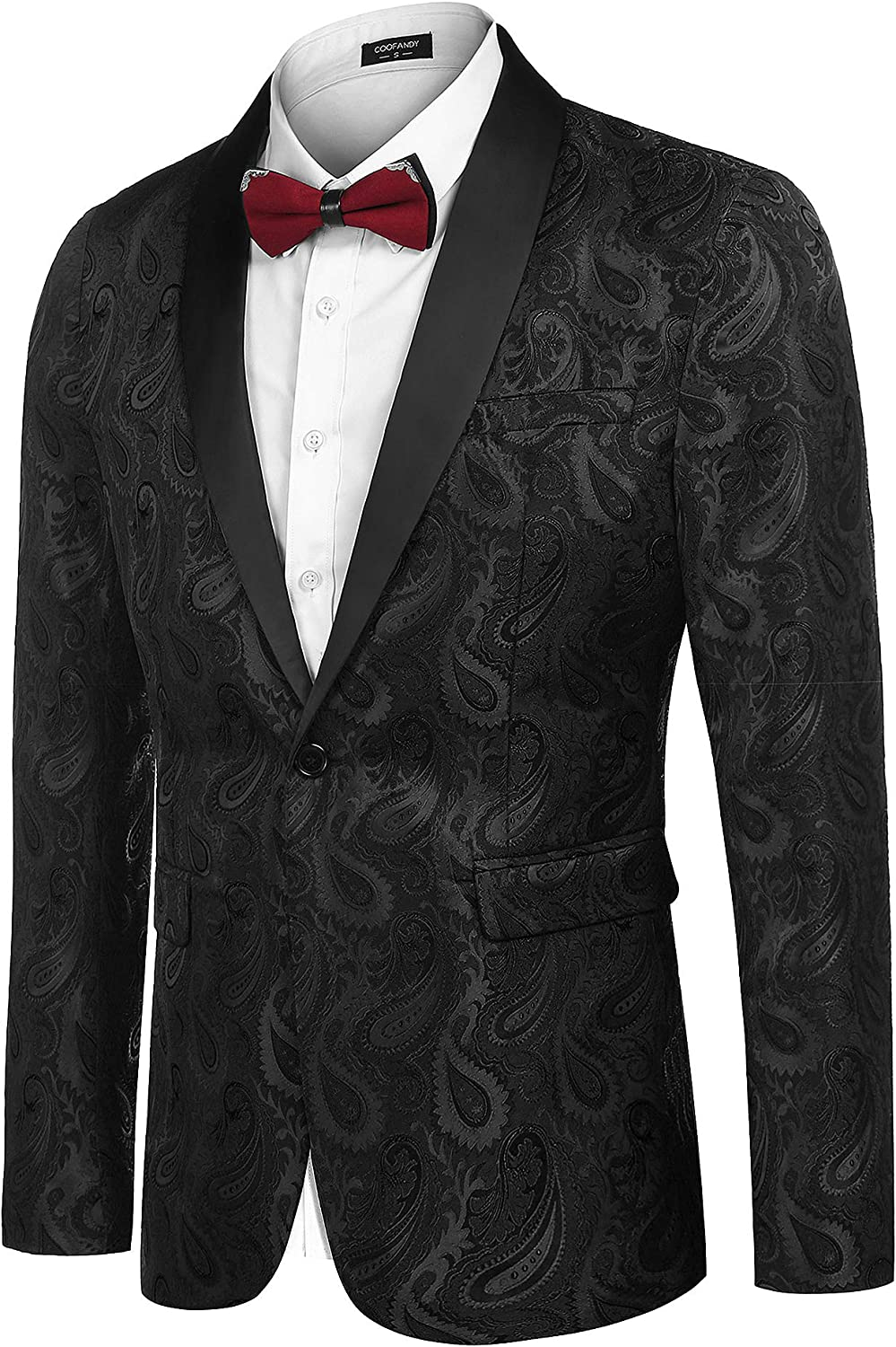 Coofandy Blazer Uomo Casual Slim Fit Paisley Floreale One Button Suit Blazer Prom Tuxedo Wedding Party Giacche