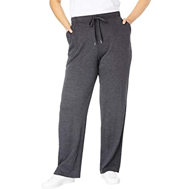 4334c557c Woman Within Women's Plus Size Petite Sport Knit Straight Leg Pant at  Amazon Women's Clothing store: