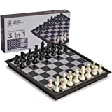 Yellow Mountain Imports 3-in-1 Travel Magnetic Chess, Checkers, and Backgammon Set - 9.8 Inches
