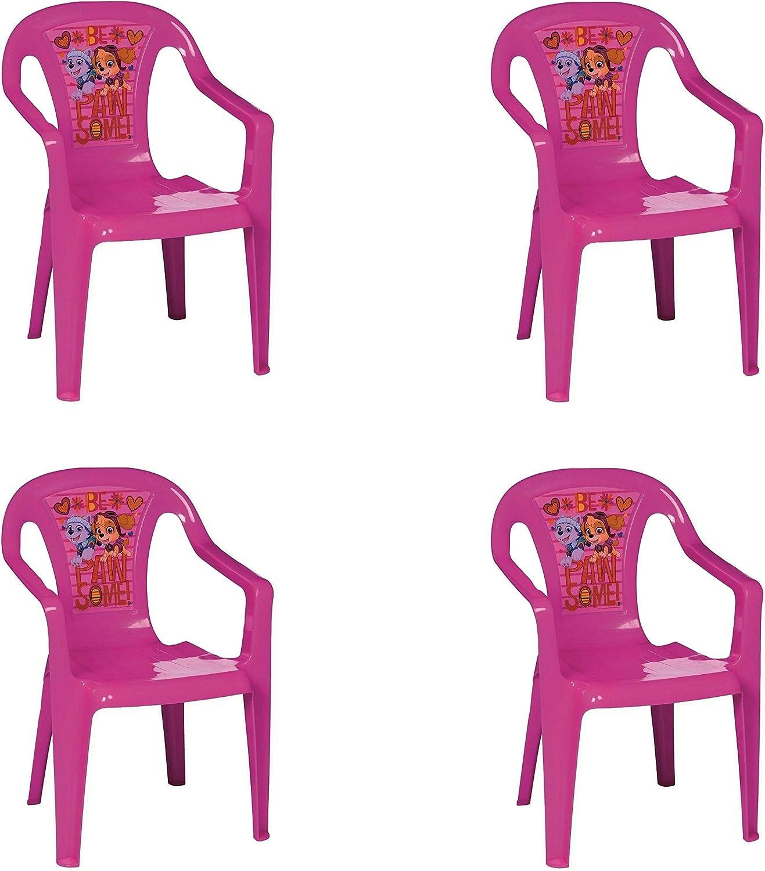 Paw Patrol Set Di 4 Rosa Plastica Garden Picnic Sedie Per Bambini Cameretta Ragazzi Agoraguiers Arredamento