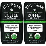 The Bean Coffee Company Organic Holiday Bean (Vanilla Cinnamon Spice), Medium Roast, Ground, 16-Ounce Bags (Pack of 2)