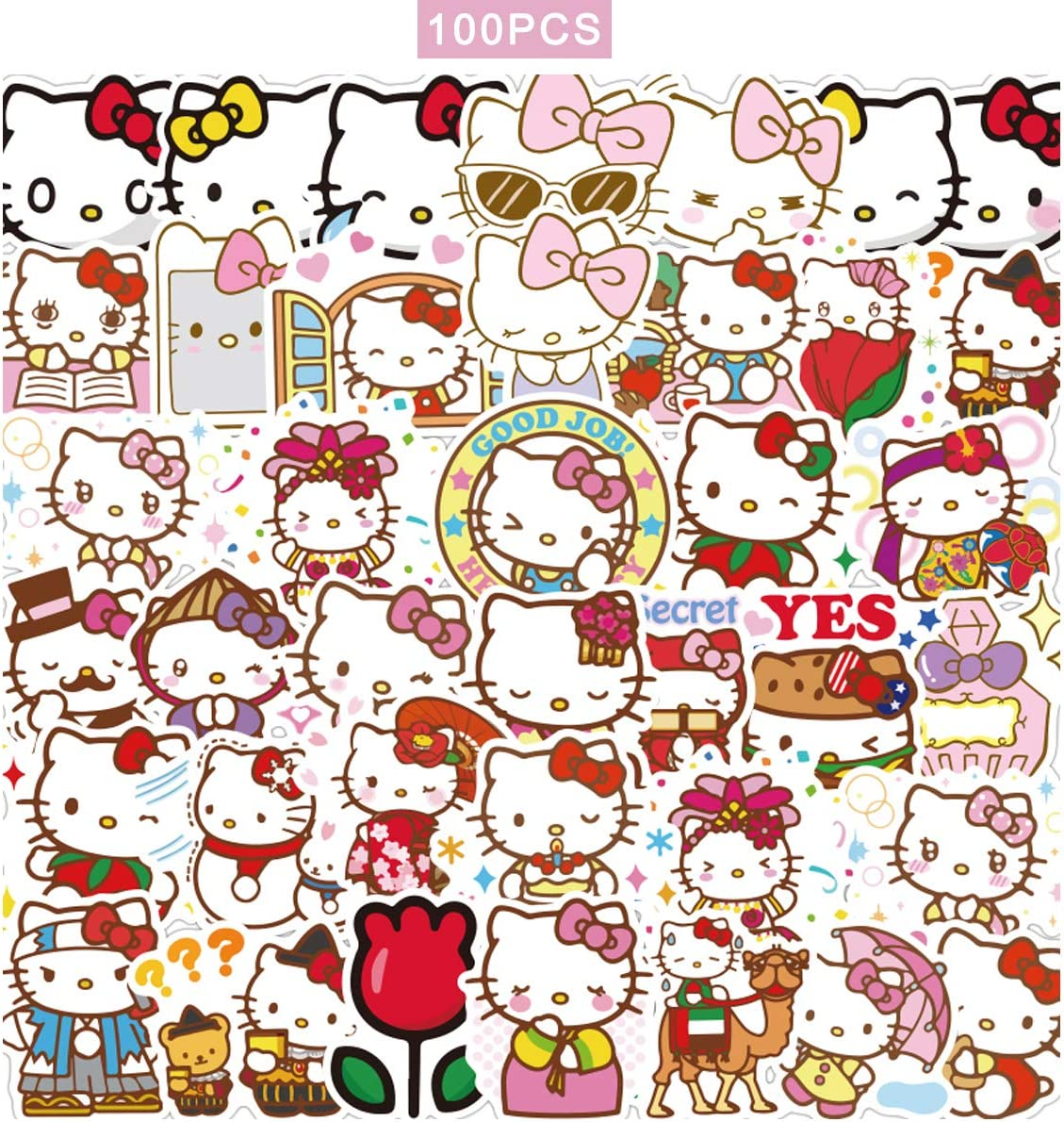 100pcs Hello Kitty Stickers Japanese Sanrio Kawaii Stickers Aesthetic Vinyl Stickers for Water Bottles Skateboard Laptop for Kids Adults Teens Waterproof Sticker Packs