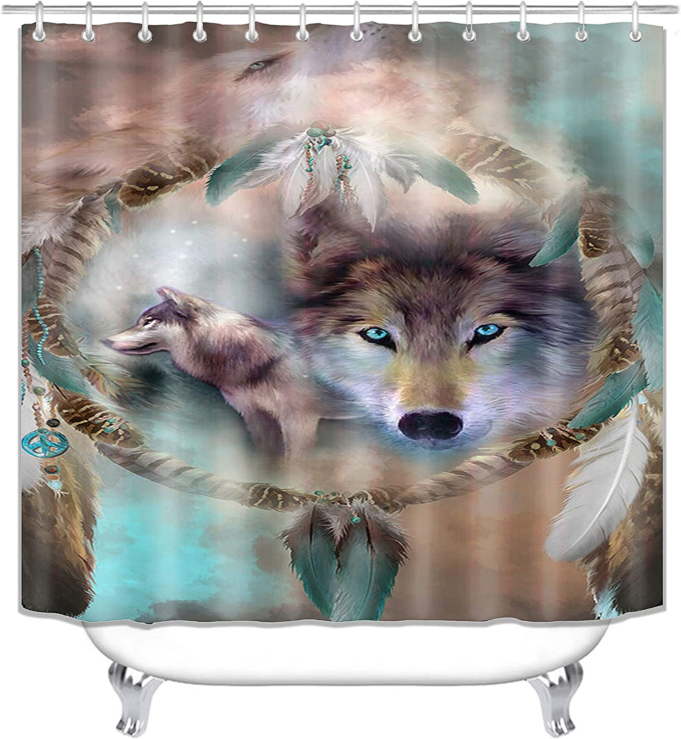 Super Soft Bathroom Rugs Bath Carpet Toilet Mat Toilet Lid Cover Style 1 wtih 12 Hooks Fashion/&Man 4PCS//Set Cool 3D Wolf Shower Curtain Polyester Fabric Waterproof Bath Curtain 72x72in