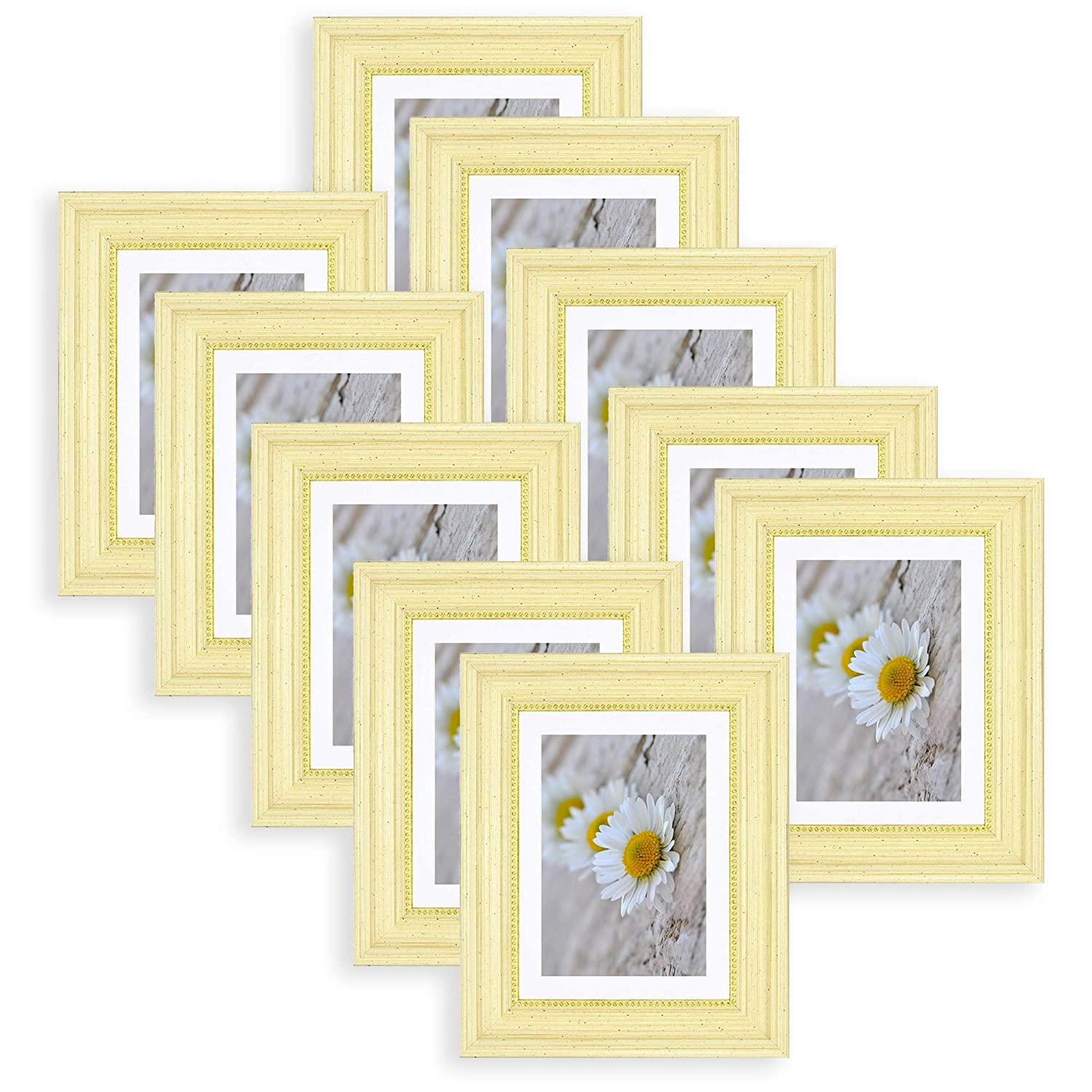 5x7 Frame for 4x6 Photo with White Mat Table-Top Easel Stand Set of 10 Golden State Art Real Glass 10 Sonora Cream - Vertical + Horizontal