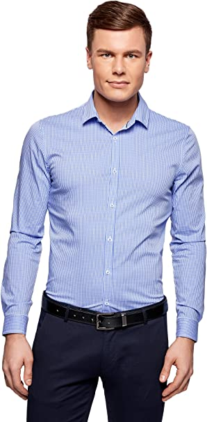 oodji Ultra Uomo Camicia Basic Slim Fit in Cotone