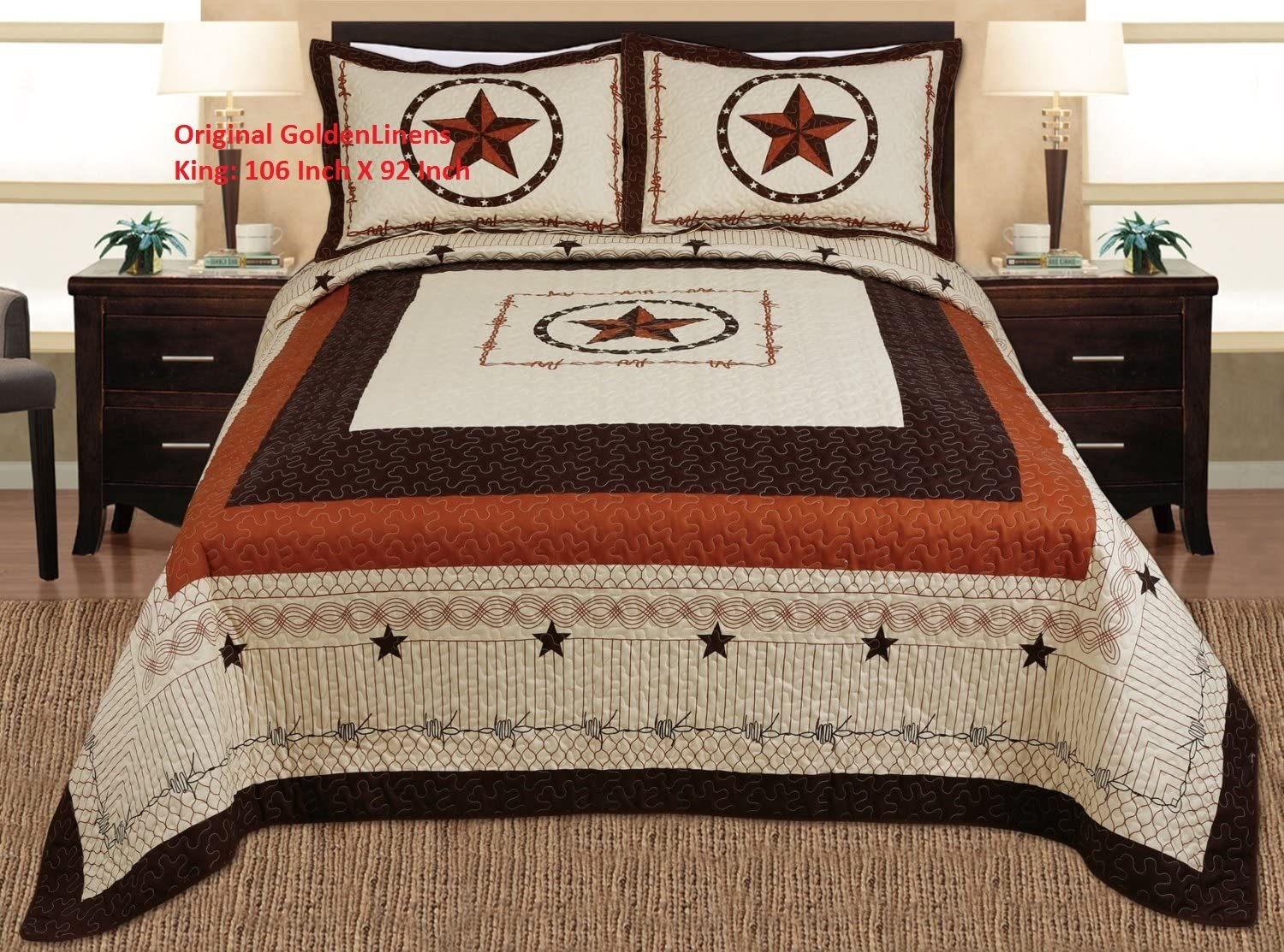 3-piece Western Lone Star Barb Wire Cabin / Lodge Quilt Bedspread Coverlet Set King Size Beige, Brown, Black