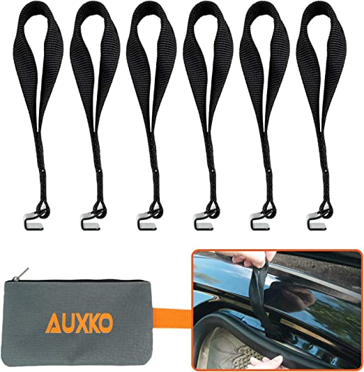 Auxko Rooftop Cargo Tie Down Hooks for Strapping Down Any Car Top Luggage NO More Straps Inside Your CAR Cargo Bag with a Storage Bag Black Camping Gear 6PCS Sturdy