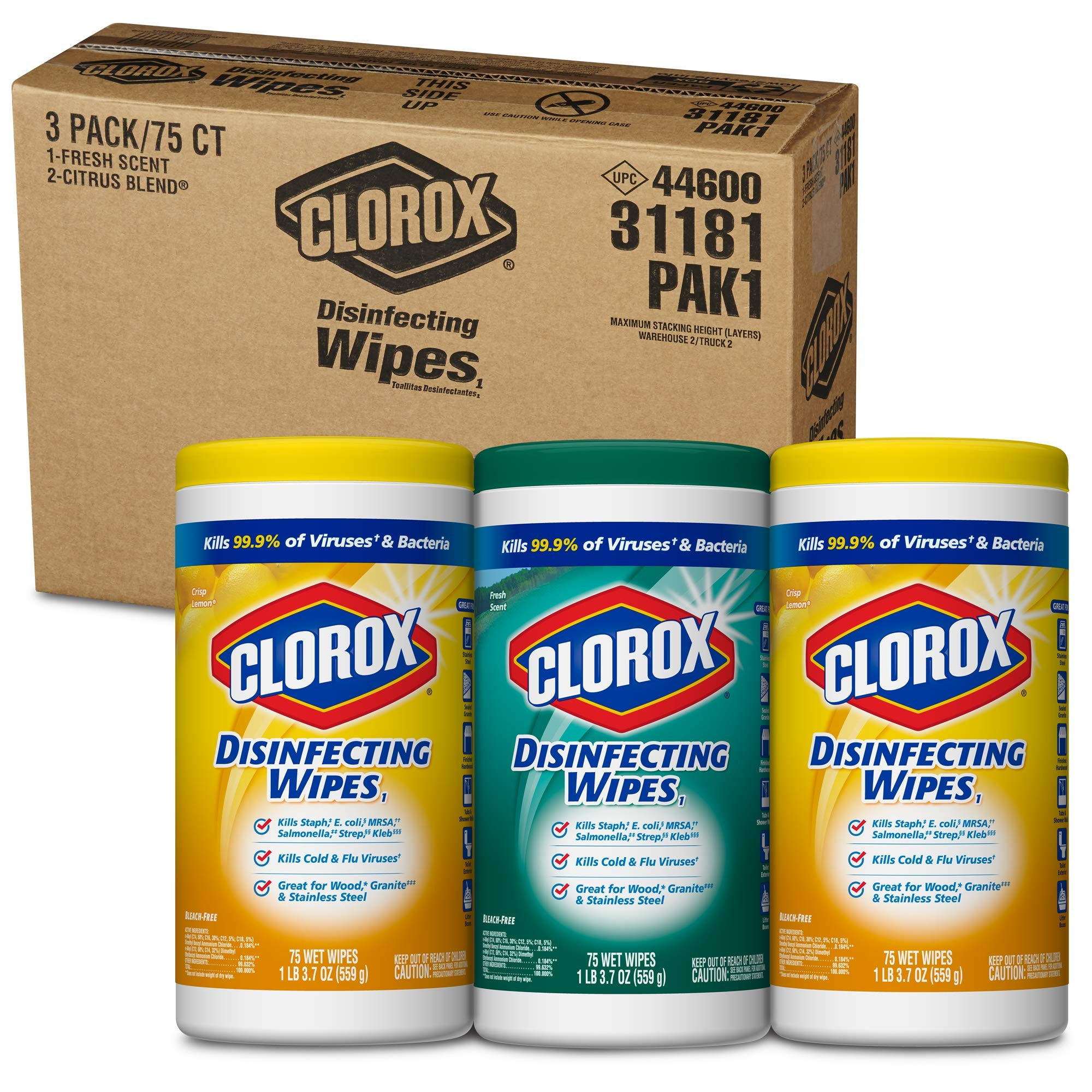 Clorox Disinfecting Wipes Value Pack, Bleach Free Cleaning Wipes - 75 Count Each (Pack of 3) (.5 Pack(225 Count)) by Clorox (Image #8)